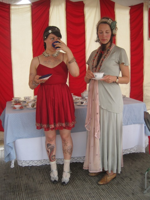 tattooed lady, bearded lady, artscape baltimore, a feminist tea party, AFTP, caitlin rueter, suzanne stroebe, side show, feminist trivia